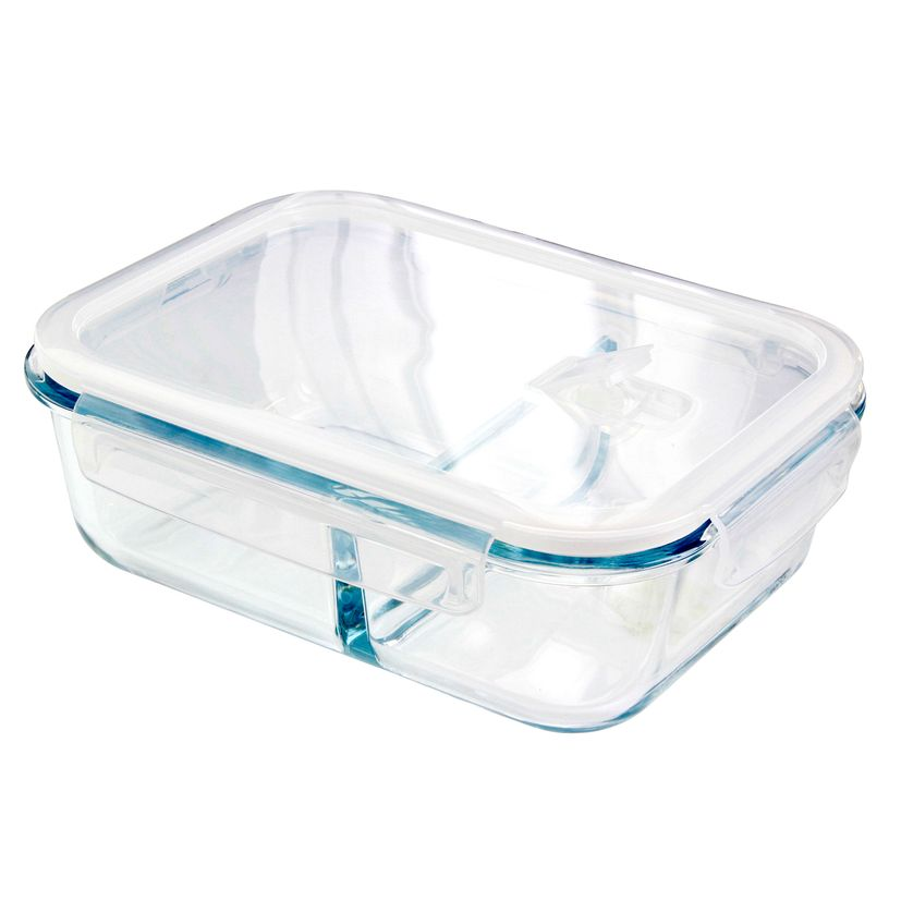 Boîte en verre 2 compartiments 1300ml - Pebbly