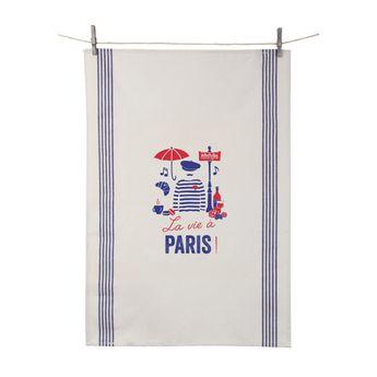 Achat en ligne Torchon La vie à Paris 55x80 cm 100% coton - Tissage de L´Ouest