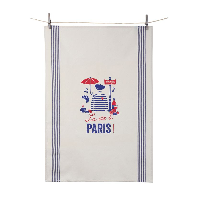 Torchon La vie à Paris 55x80 cm 100% coton - Tissage de L´Ouest