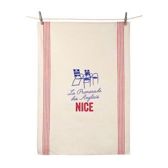 Torchon La Promenade des Anglais Nice 55x80 cm 100% coton - Tissage de L´Ouest