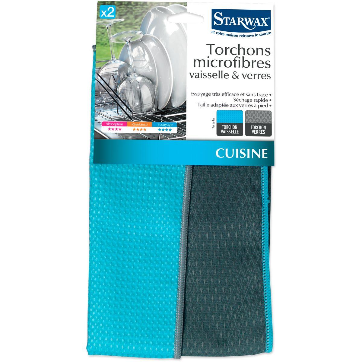 2 torchons microfibre vaisselle et verres - Starwax