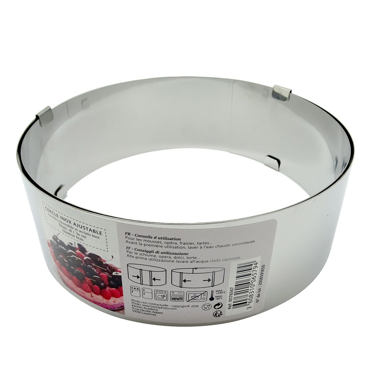 Cercle à pâtisserie extensible en inox de 8 à 16 cm hauteur 8 cm - Zodio
