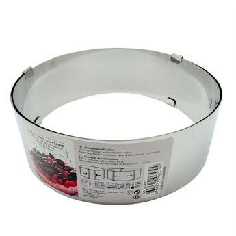 Achat en ligne Cercle à pâtisserie extensible en inox de 8 à 16 cm hauteur 8 cm - Zodio