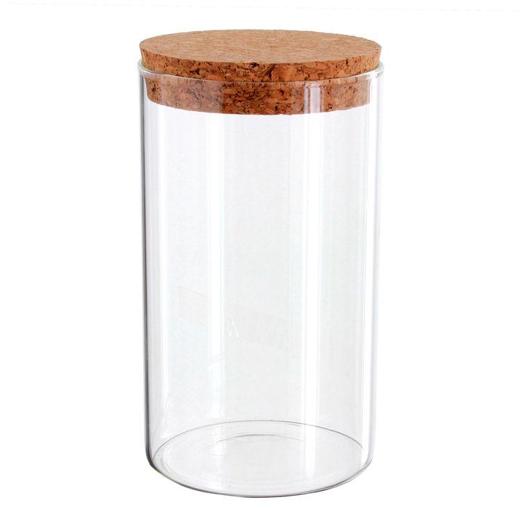 Boîte de conservation en verre avec couvercle en liège 1.1L - Zeller