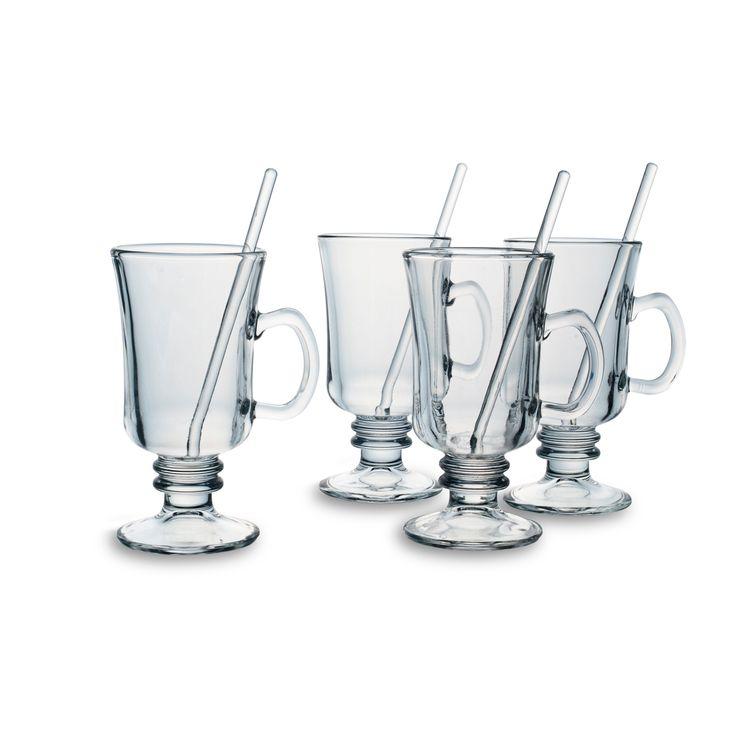 Set de 2 verres à Irish coffee ou grog  20cl avec agitateurs - Bohemia Selection
