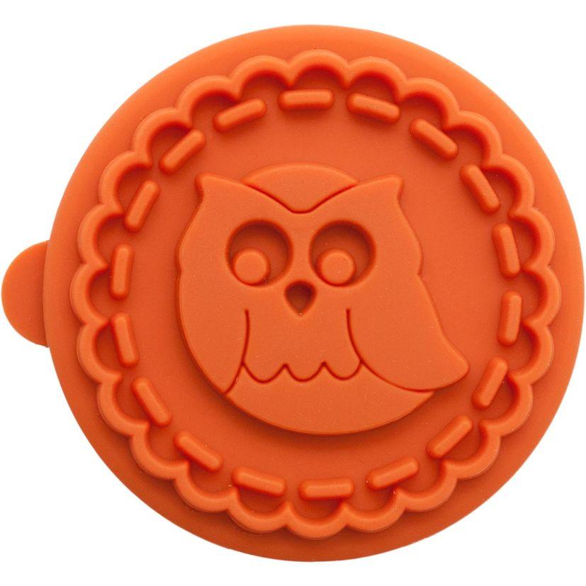 Tampon biscuit bois et silicone hibou 7 cm - Birkmann