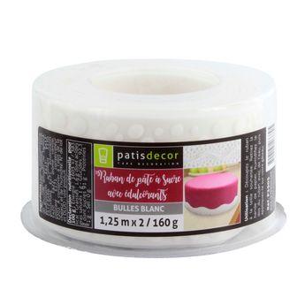 Ruban pâte à sucre bulle blanc 1.25m 160 gr - Patisdecor