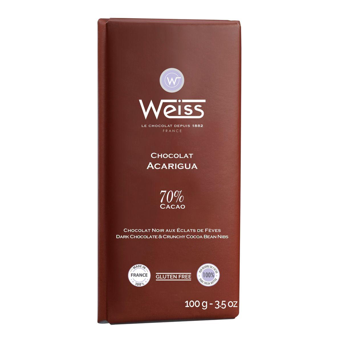 Tablette acarigua éclat feve 100gr - Weiss
