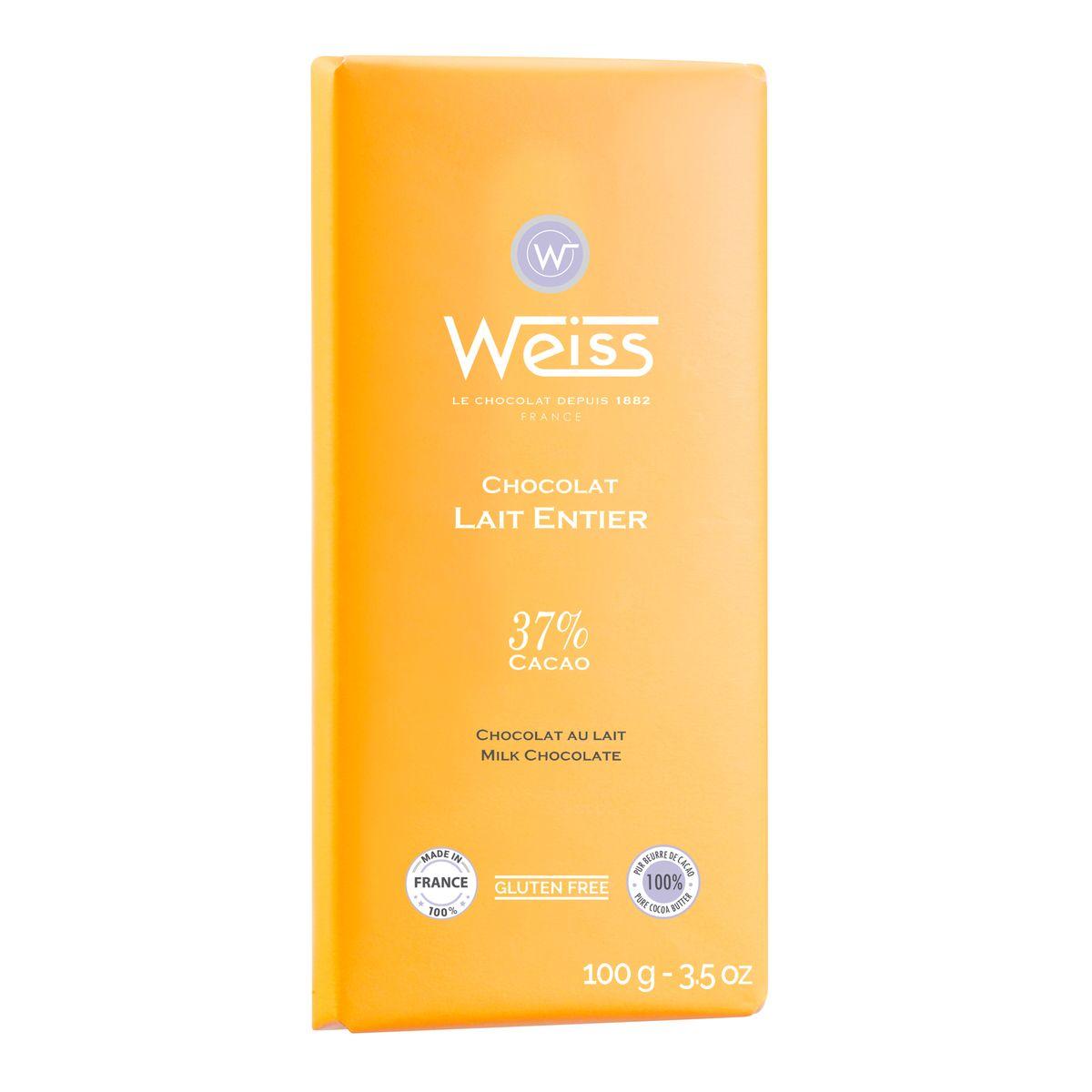 Tablette 100g lait entier 37% - Weiss