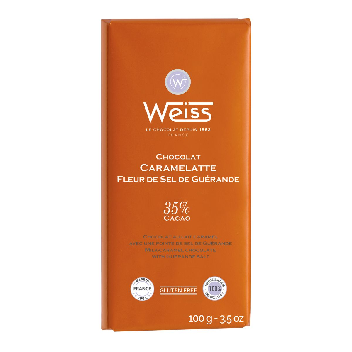 Tablette caramelatte pointe de sel 100gr - Weiss