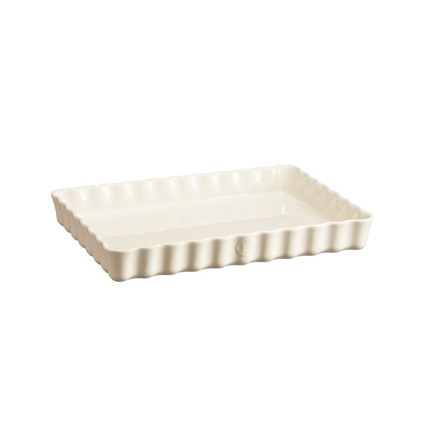 Moule à tarte / tourtière rectangulaire en céramique blanc cassé 33.5 x 24 x 5 cm - Emile Henry