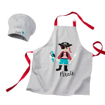 Lot tablier 55 x 65 cm et toque 24 x 26 cm enfant pirate - Alice Délice