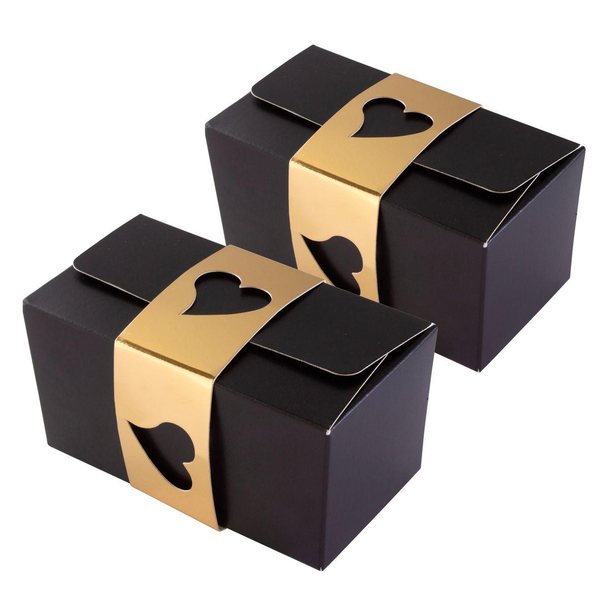 2 ballotins de chocolats avec fourreaux noir et or 11.5 x 6 cm - Patisdecor