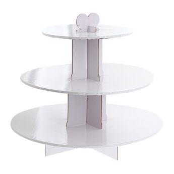 Présentoir à petits gateaux rond blanc 3 étages 33 cm - Patisdecor