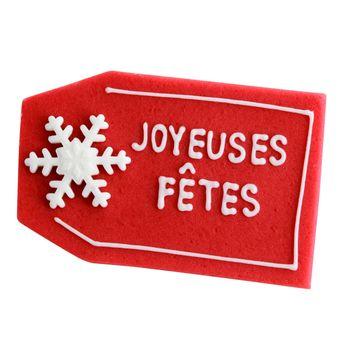Achat en ligne Plaque en sucre Joyeuses Fêtes - Alice Délice