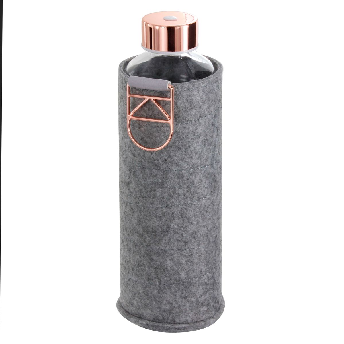 Bouteille nomade en verre avec pochette en feutre grise et détails rosés 750ml - Equa