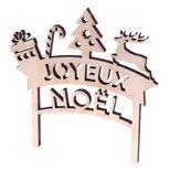 Décoration gâteau cake topper en bois Joyeux Noël 10.5 x 10.5 cm - Alice Délice