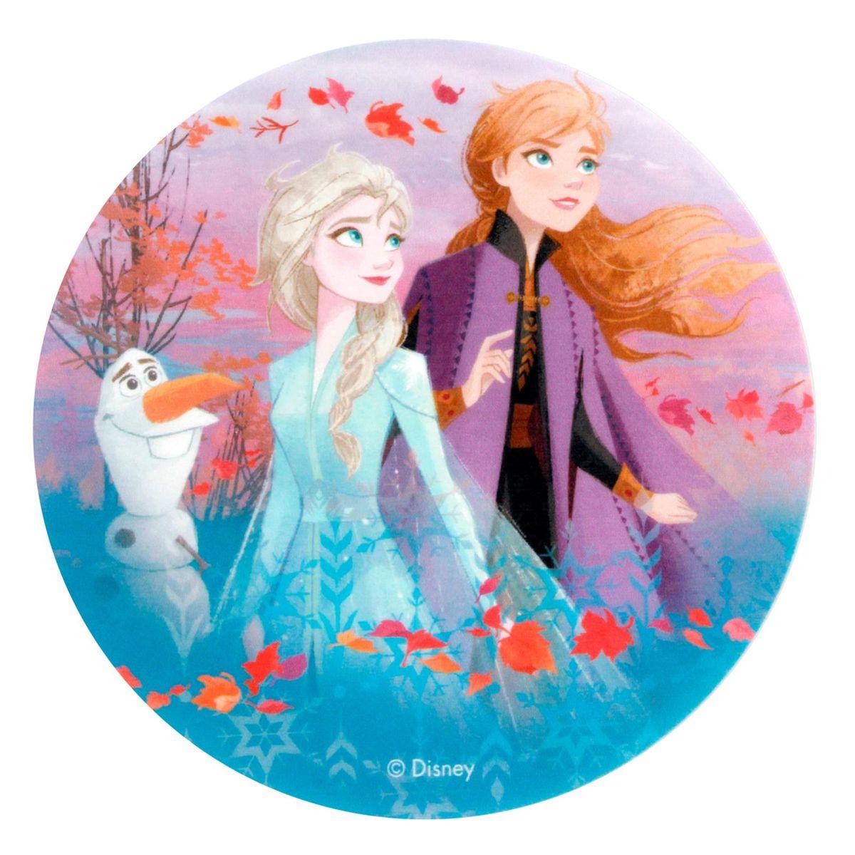 Disque en azyme Reine des neiges 2 : Anna. Elsa et Olaf 20 cm - Dekora