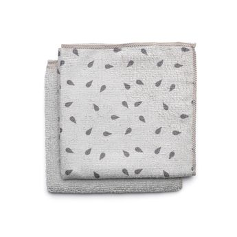 2 chiffons de nettoyage en microfibre gris 30 x 30 cm - Brabantia