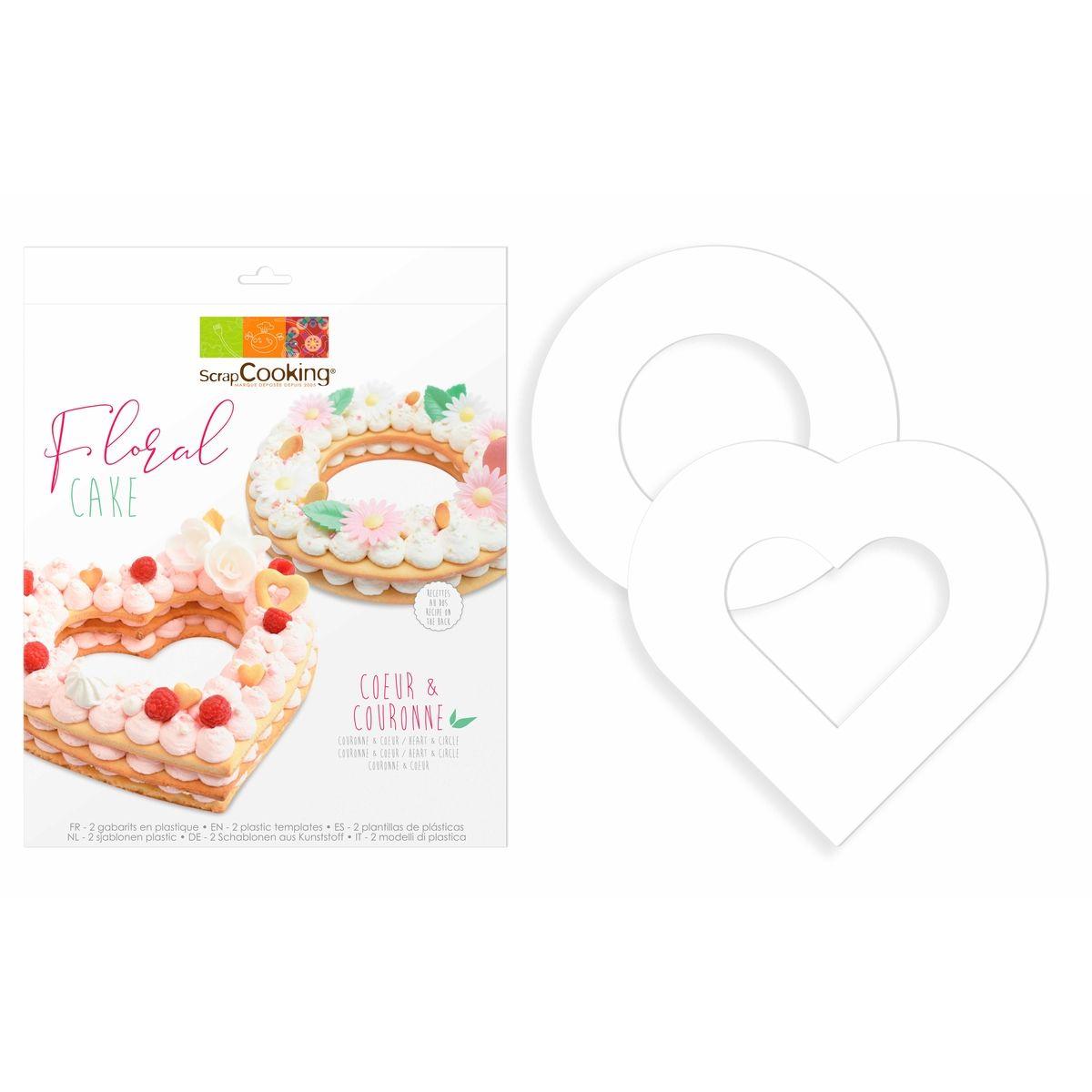 2 gabarits pour floral cake en plastique : un coeur 23.5 x 26 cm et une couronne 24 cm - Scrapcooking