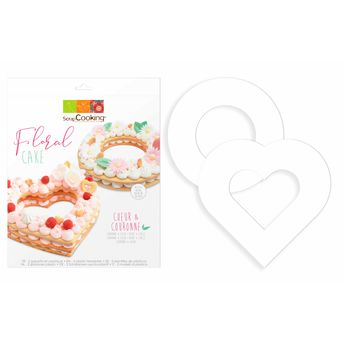 Achat en ligne 2 gabarits pour floral cake en plastique : un coeur 23.5 x 26 cm et une couronne 24 cm - Scrapcooking