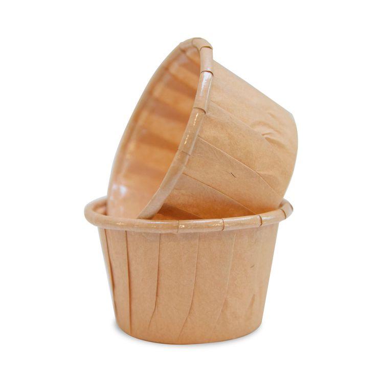 25 mini caissettes de cuisson en papier marron pour muffins et cupcakes 6 cm - Mirontaine