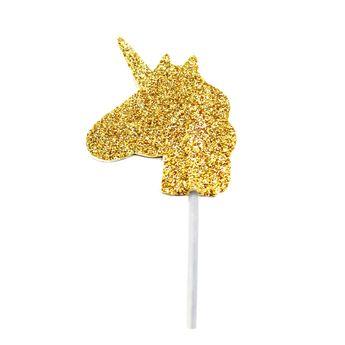 Achat en ligne Décor de gâteau : 12 licornes dorées - Anniversary House