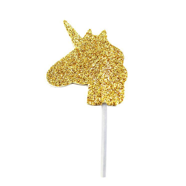 Décor de gâteau : 12 licornes dorées - Anniversary House