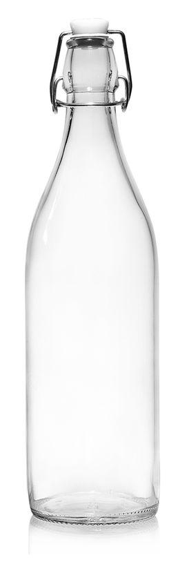 Bouteille limonade lisse en verre transparent 1 l 8.6 x 30 cm - Cerve