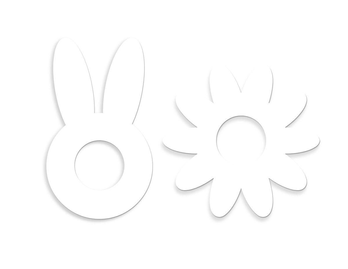 2 gabarits nature cake en plastique : une fleur 25 x 26 cm et un lapin 17.5 x 30 cm - Scrapcooking