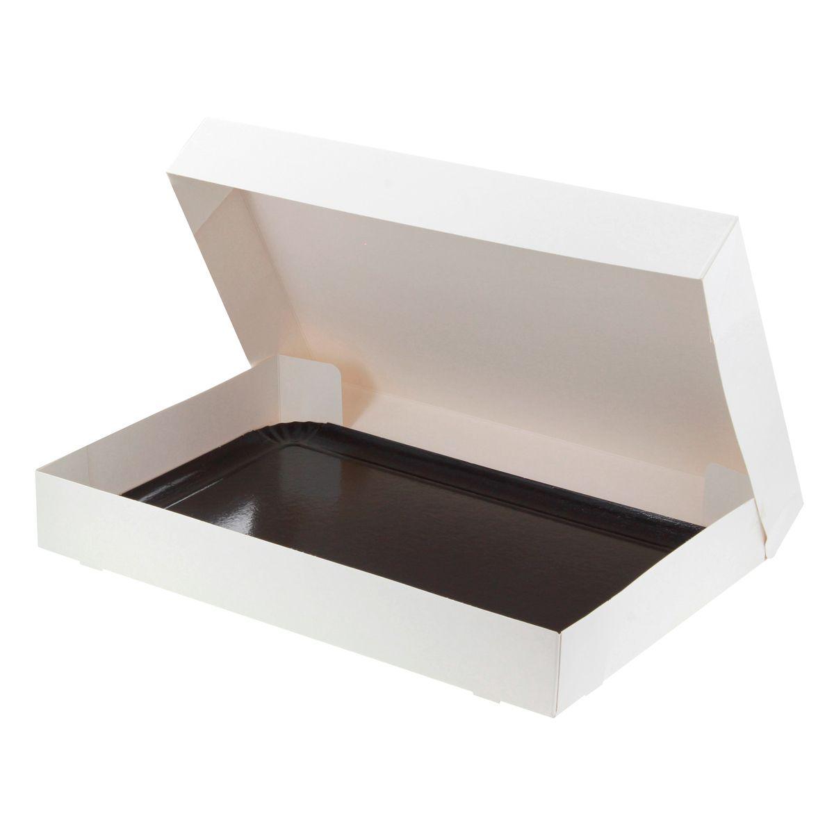 Boite à gâteaux blanche avec plateau 28 x 42 x 6 cm - Patisdecor