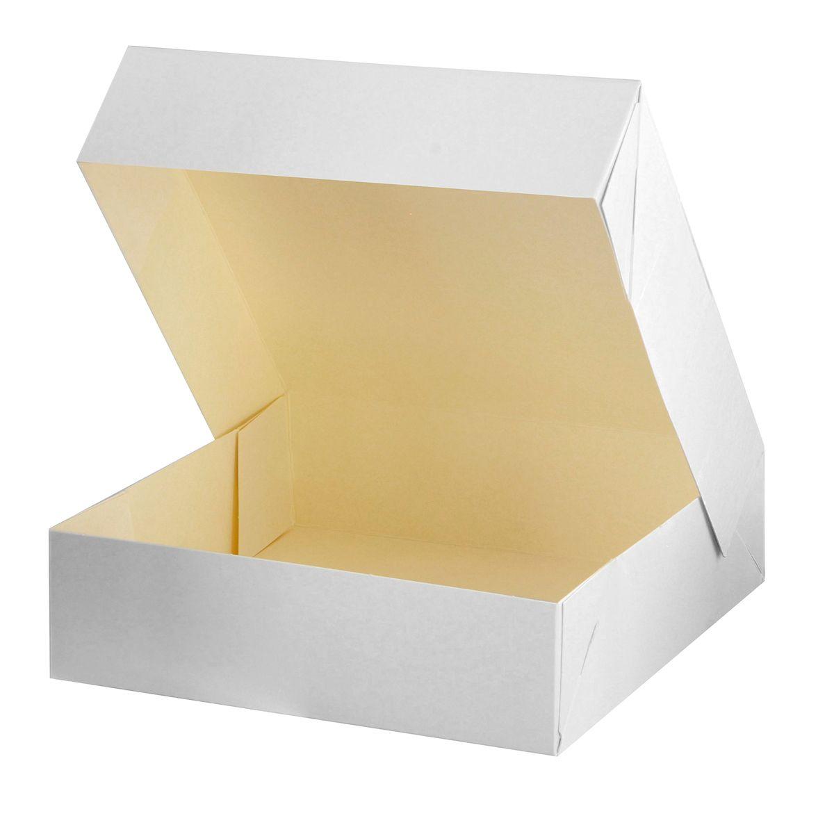 Boîte à gâteaux blanche 18 x 18 x 5 cm - Patisdecor