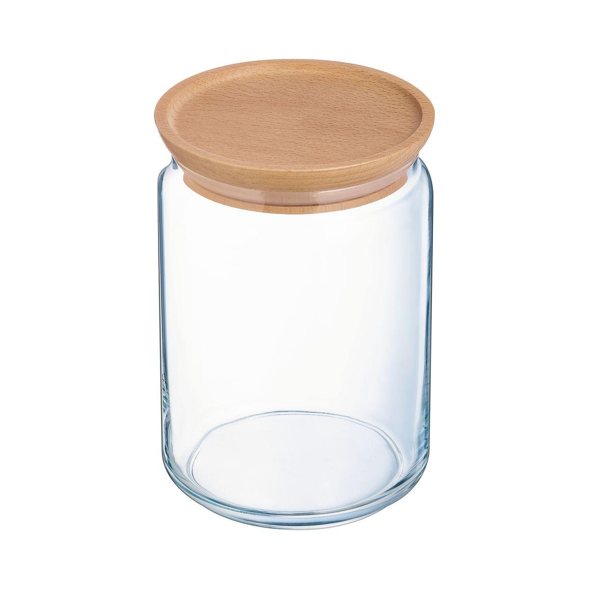 Bocal en verre avec couvercle en bois 1L 10,5x10,5x14cm - Luminarc