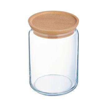Achat en ligne Bocal en verre avec couvercle en bois 1L 10,5x10,5x14cm - Luminarc