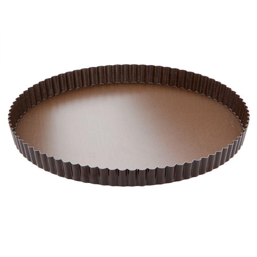 Moule à tarte rond cannelé marron anti adhérent avec fond amovible 32 cm hauteur 2.5 cm - Gobel