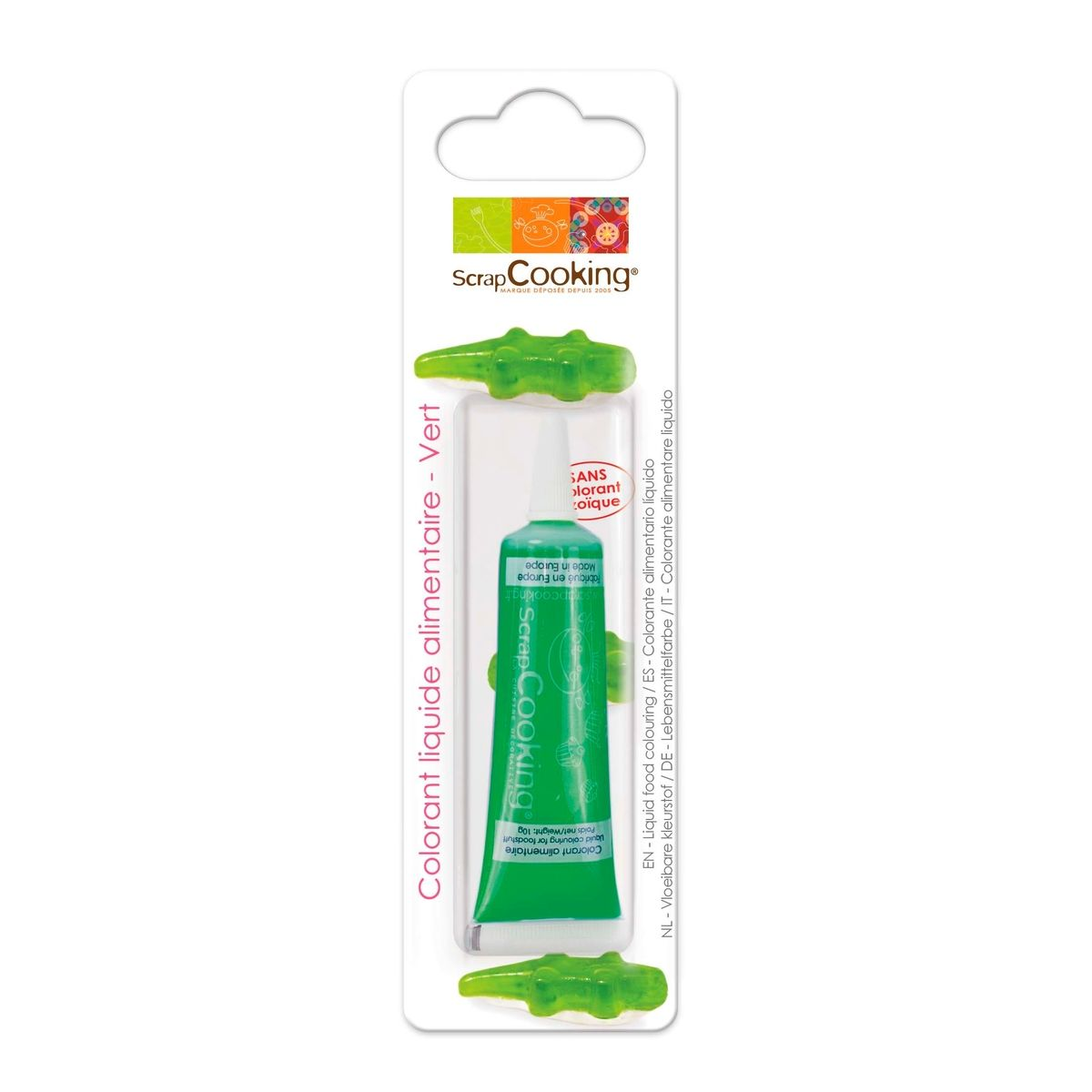 Colorant alimentaire liquide non azoïque vert 10 gr - Scrapcooking