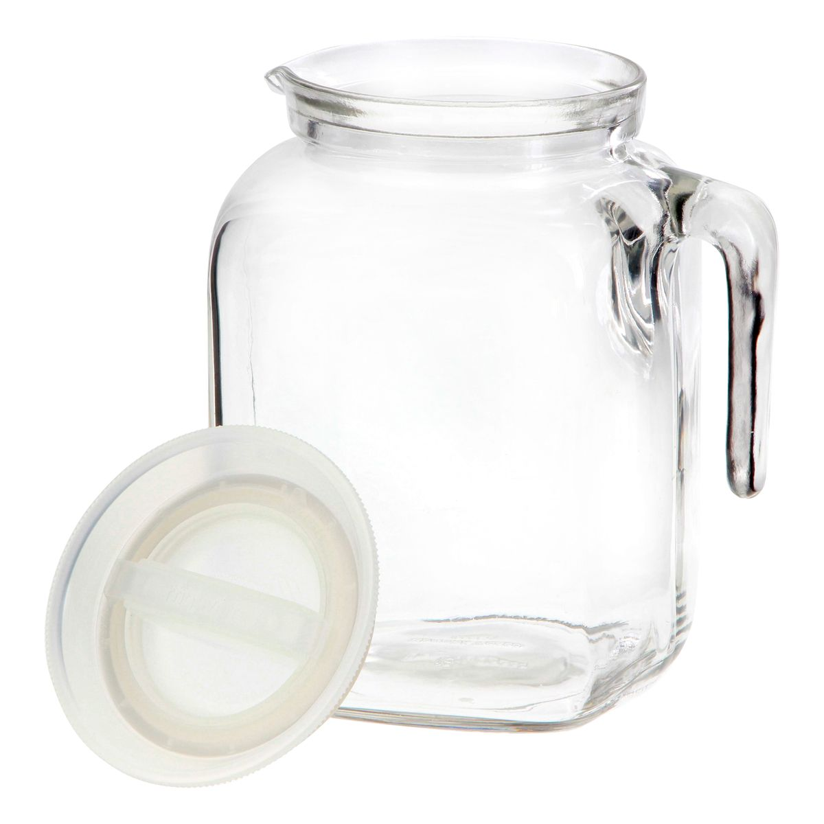 Broc transparent en verre avec couvercle blanc 2l Frigoverre - Bormioli