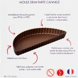 Moule demi tarte bords cannelés marron anti adhérent 11.5 x 28 cm - Gobel