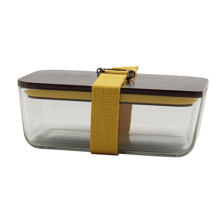 Lunch box jaune en verre couvercle bambou 6.5 x 11.7 x 17.5 cm - Cookut