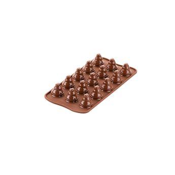 Achat en ligne Moule en silicone chocolats de Noël 3D mini sapins 11 x 21 cm - Silikomart