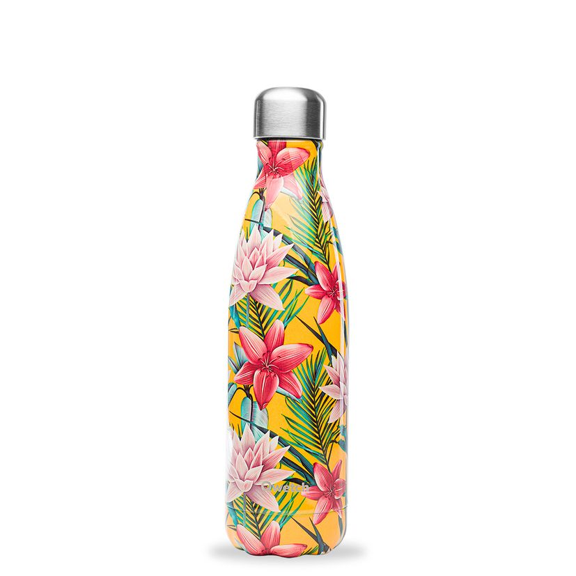 Bouteille isotherme inox 500ml Tropical flower jaune - Qwetch