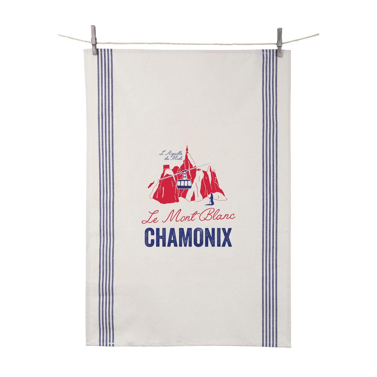 Torchon Le Mont Blanc Chamonix 55x80 cm 100% coton - Tissage de L´Ouest