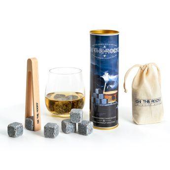 Achat en ligne Coffret de 6 pierres à whisky en granit avec pince en bois d´hêtre - On the rocks