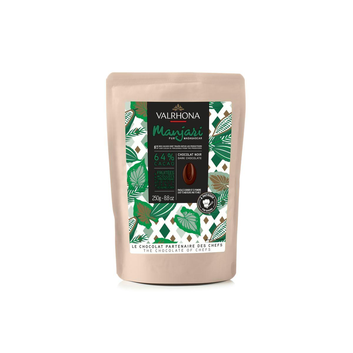 Chocolat noir à pâtisser Manjari 64% 250g pure orgine Madascar - Valrhona