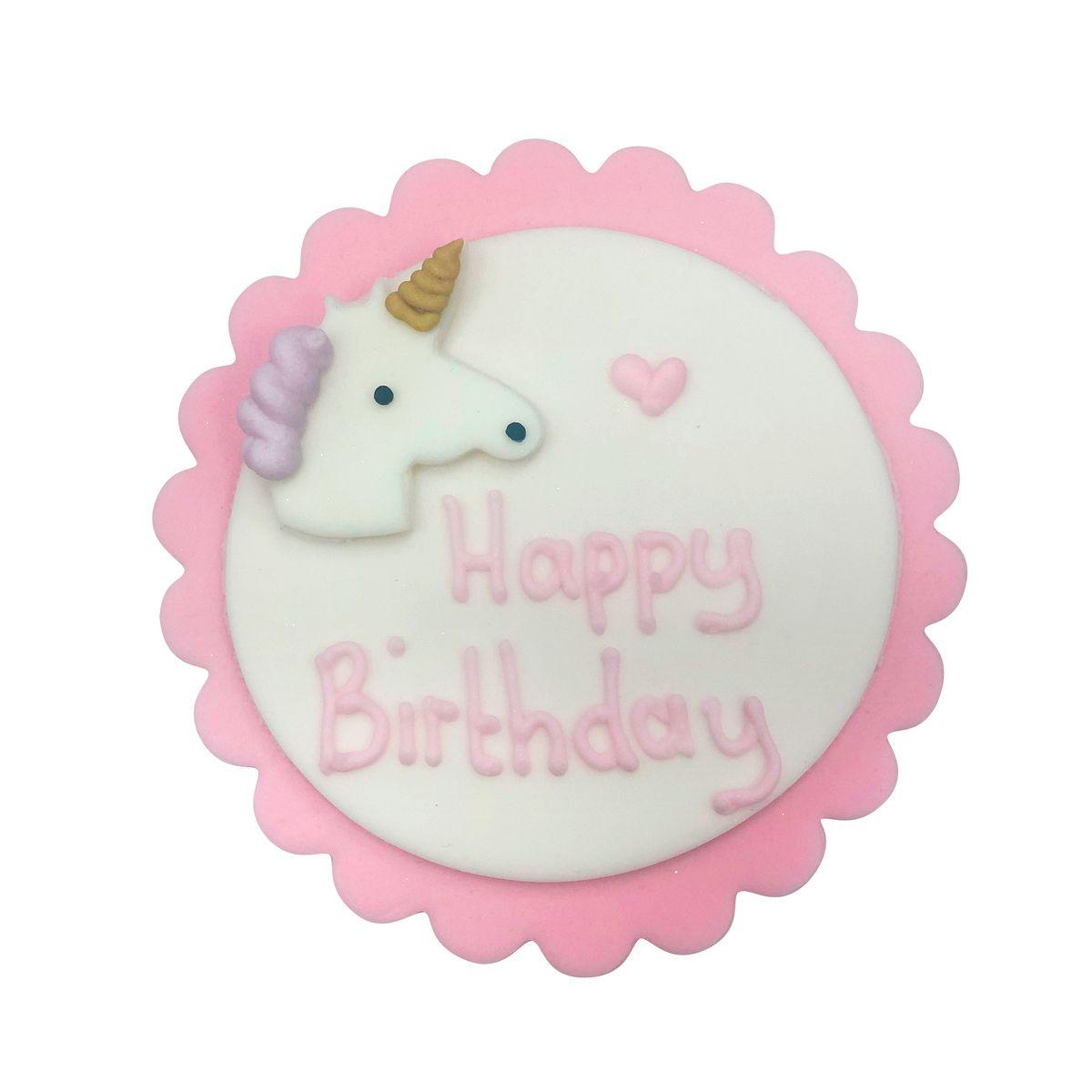 Plaque en sucre Happy Birthday licorne rose et blanche 7.5 cm - Anniversary House