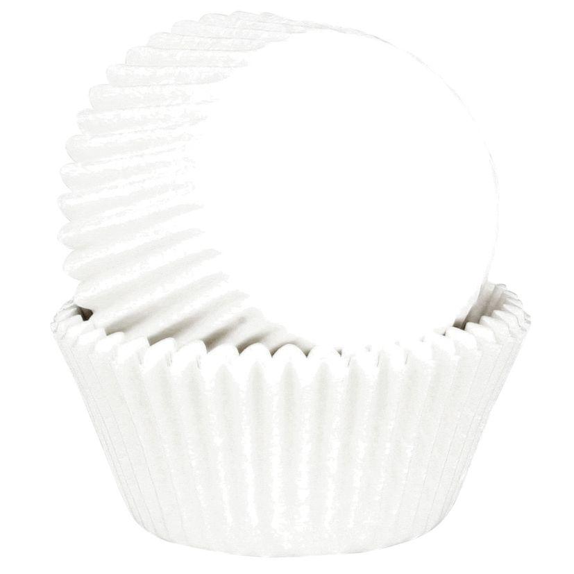 45 mini caissettes à cupcakes et muffins en papier blanc 7.5 x 3.5 cm - Chevalier Diffusion