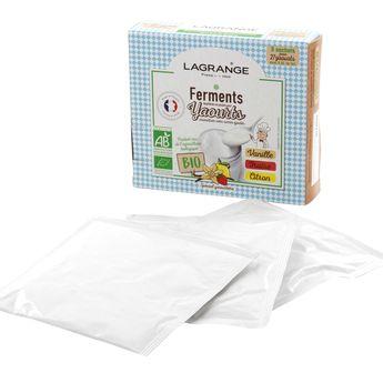 Achat en ligne Ferments pour 27 yaourts aromatisés Vanille/Fraise/Citron biologiques - Lagrange
