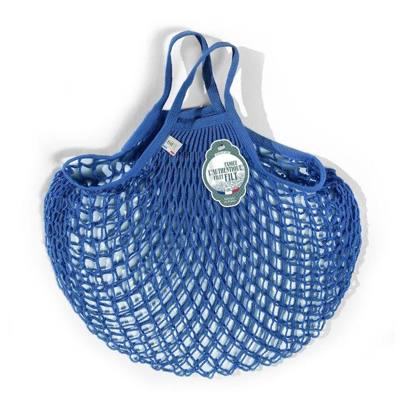 Filets à provisions anses courtes en coton bleu matisse 40cmx40cm - Filt