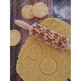Achat en ligne Rouleau à empreintes en bois crâne Halloween 11 cm - Alice Délice