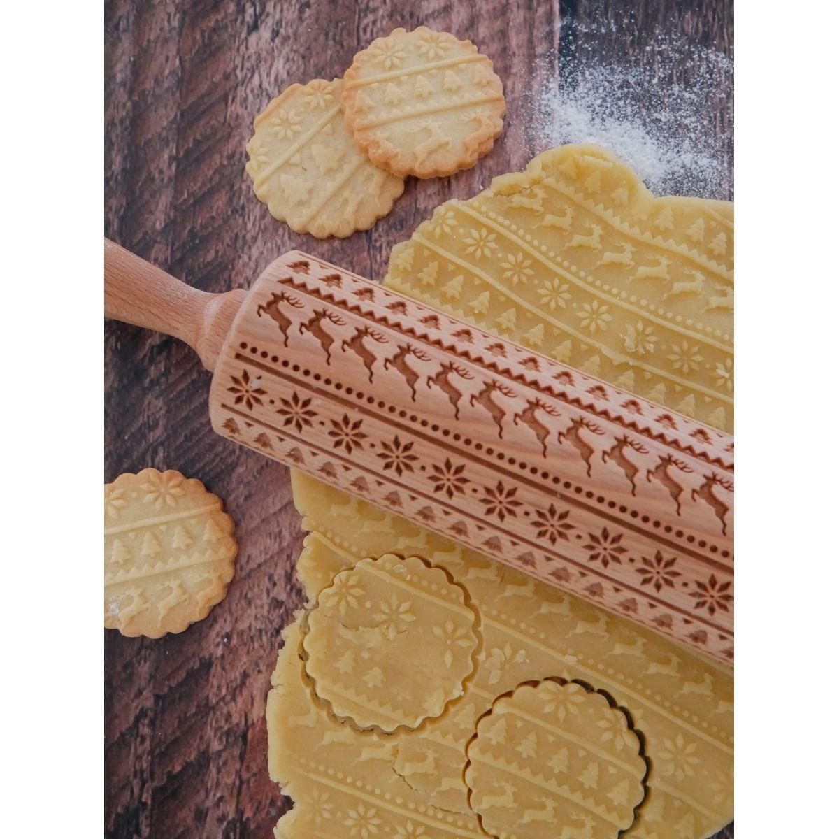 Rouleau à empreintes en bois Noël nordique 25 cm - Alice Délice
